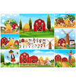 children and scarecrow in farmyard vector image