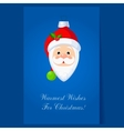 Christmas toy Santa Claus head greeting card with vector image