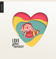 papercut - colorful layered heart vector image