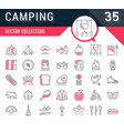 set flat line icons camping vector image