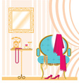 Vintage ladies dressing room interior background vector image