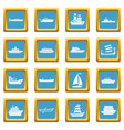 sea transport icons azure vector image