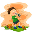 Little boy getting drunk vector image