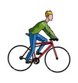 drawing guy rider bike transport vector image