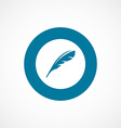 feather bold blue border circle icon vector image