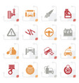 stylized car and road services icons vector image