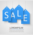 four large blue tags with the word sale vector image