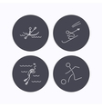 Diving football and skiing icons vector image
