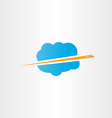 airplane flying through clouds icon vector image