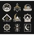Eid mubarak vintage isolated label set vector image