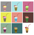 set icons in flat design milkshake with cherry vector image