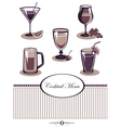 Drinks icons set purple menu vector image