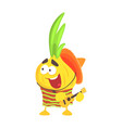 funny cartoon onion character in traditional vector image