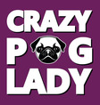 Crazy Pug Lady T-shirt Typography Graphics vector image