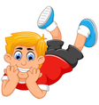 Cute little boy cartoon prone vector image