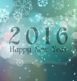 Happy New Year 2016 on Bokeh Light with Snowflakes vector image