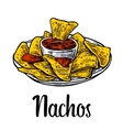 Nachos- mexican traditional food vintage vector image