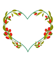 Ripe Olives Leaves and Fruits in Heart Shape Frame vector image
