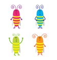 Set of cute cartoon cockroach vector image