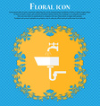 Washbasin icon sign Floral flat design on a blue vector image