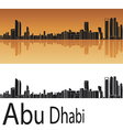 Abu Dhabi skyline in orange background Vector Image