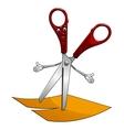 Cartoon scissors cut yellow paper vector image vector image