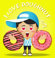 happy man carrying big strawberry doughnut vector image