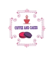 Coffee and cakes label logo vector image