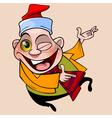 cheerful cartoon character jumping winks vector image