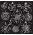ethnic christmas baubles set black vector image