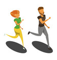 isolated runners girl and the guy isometric vector image