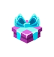 Purple Gift Box With Blue Bow With Present vector image