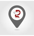 Snake medical map pin icon vector image