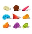 Sparkling Cartoon Sea Shells vector image
