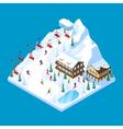 Skiing Mountain Isometric Landscape vector image
