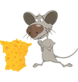 Little mouse and cheese cartoon vector image vector image