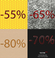 65 80 70 icon Set of percent discount on abstract vector image