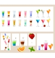 Set with different kinds of drinks - cocktails vector image vector image