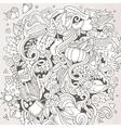 Cartoon hand-drawn Doodle Thanksgiving vector image