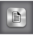 Document icon - metal app button vector image