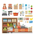 Supermarket Decorative Elements Set vector image