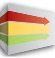 Red yellow and green arrows in perspective on wall vector image