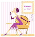 Vintage flapper girl with cigaret vector image vector image