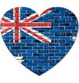 Flag of Australia on a brick wall in heart shape vector image