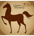 Horse silhouette on wood background vector image