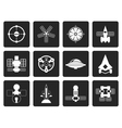 Black different kinds of future spacecraft icons vector image
