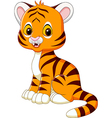 Cute baby tiger sitting isolated vector image