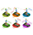 golf players isometric isolated icons vector image