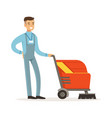 young smiling janitor with washing machine vector image