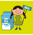 girl milk box drink vector image